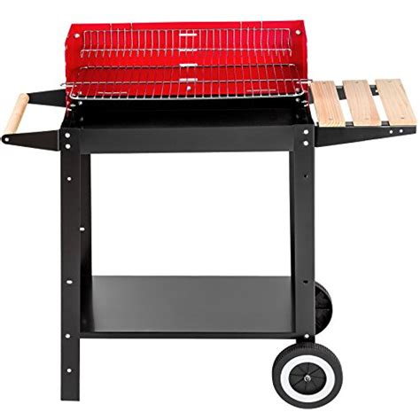 grill side table outdoor tectake barbecue charcoal grill portable with side table