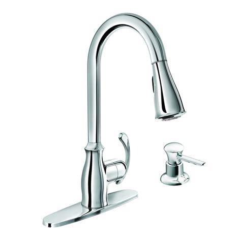 one kitchen faucet shop moen kipton chrome 1 handle deck mount pull