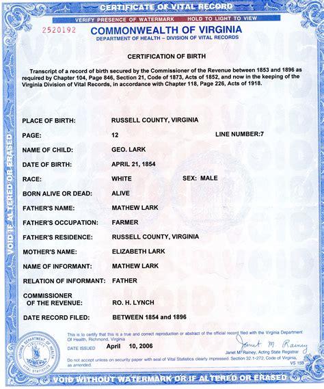 virginia vital statistics form virginia birth certificate printable birthday certificates