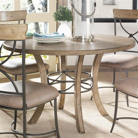 Round Wood Table W Metal Pedestal Ring By Hillsdale