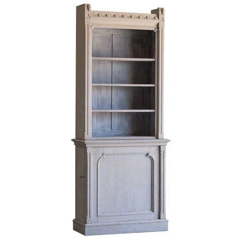 Shallow Bookcase by Shallow Antique Painted Oak Display Cabinet