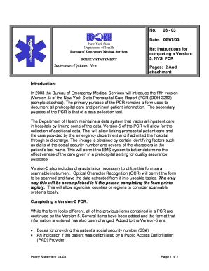 bureau pcr nys department of health prehospital care report fill