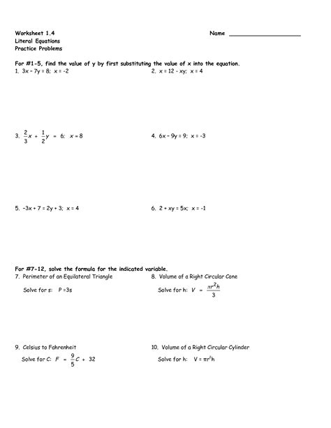 Literal Equations Worksheet For 8th Graders  Solving Literal Equations Equation Integers And