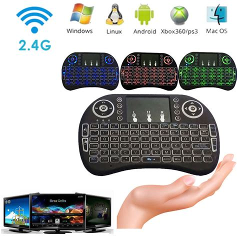Tastiera Wireless Illuminata Mini Keyboard Touchpad Tastiera Led Retroilluminata
