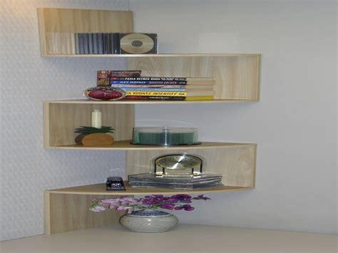 Wooden And Glass Corner Rack Decorating Color Floating