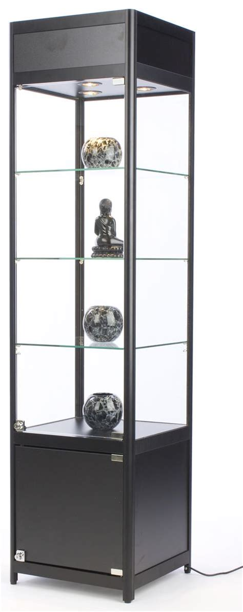 glass display cabinet with lock locking narrow showcase 72 quot high halogen lit display