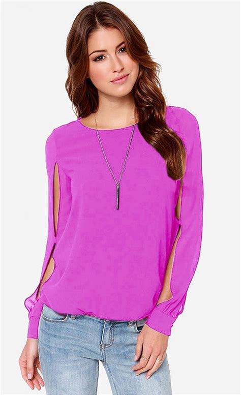 purple blouse womens tomcaary neck stylish sleeves hollow out