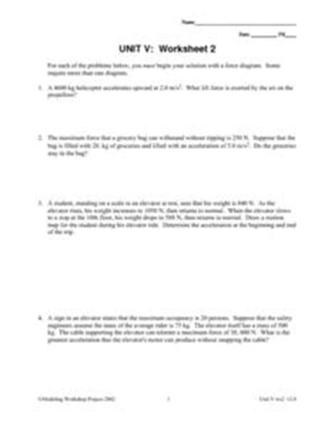 Unit V Worksheet 2  Constant Force Worksheet For 9th  12th Grade  Lesson Planet