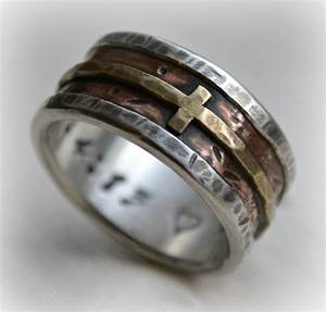 mens wedding band rustic fine silver copper and brass cross With christian wedding rings for men