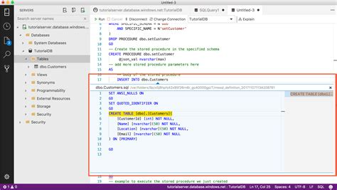 Tutorial Use the SQL Operations Studio (preview) Transact