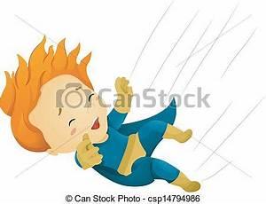 Vector of Falling Little Kid Boy Superhero - Illustration ...