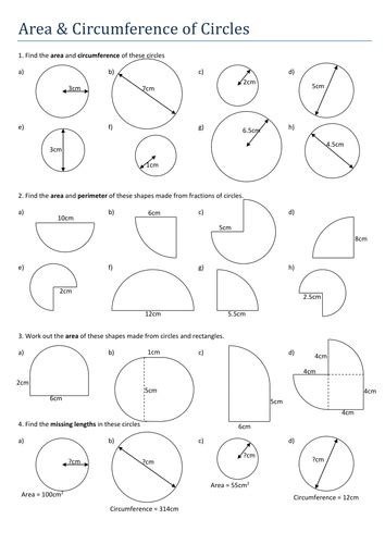 area circumference of circles worksheet by tristanjones