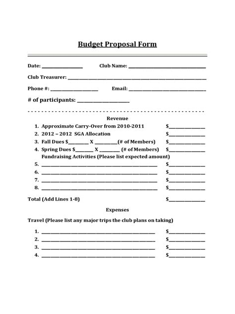 budget proposal template   templates   word