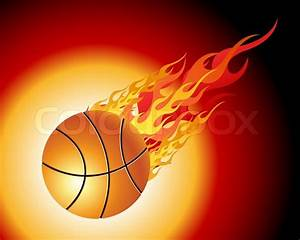 Fiery basketball ball flying downwards on a black