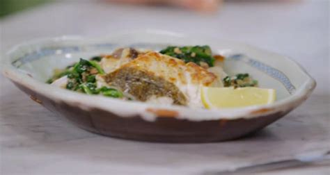 jamie oliver fried hake  spinach  bacon recipe