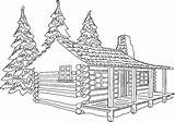 Cabin Woods Drawing Coloring Clipart Template Sketch Clip sketch template