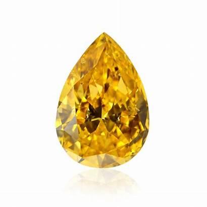 Orange Fancy Vivid Diamond Yellow Pear Diamonds