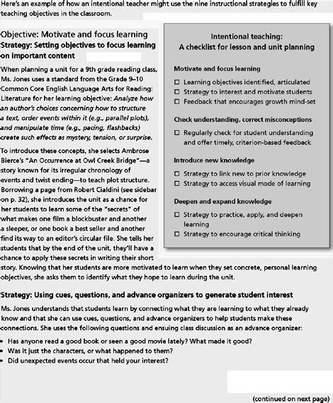 guaranteeing challenging engaging  intentional
