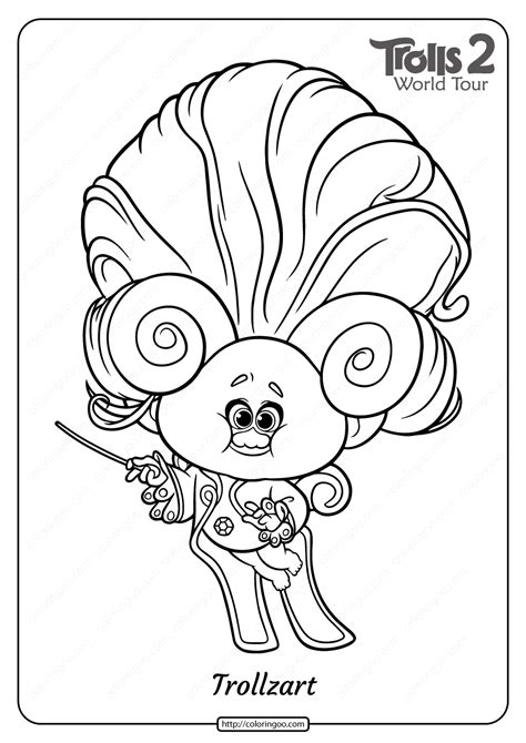 printable trolls  trollzart  coloring page