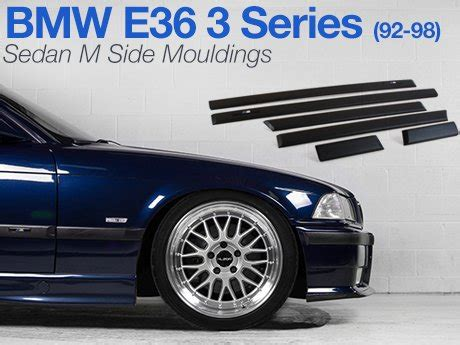 ecs news m side mouldings bmw e36 3 series sedan 92 98