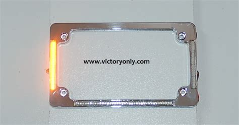 victory motorcycle license plate frame chrome turn signals