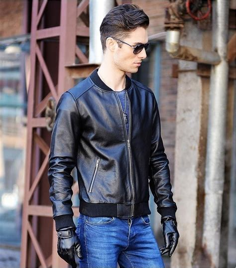 express genuine suede moto free shipping ems mens blue motorcycle leather jacket