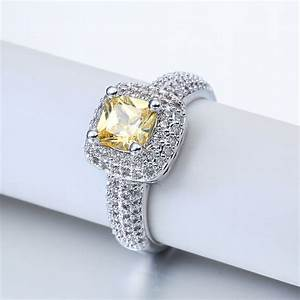 Fashion white gold filled yellow stone ring women wedding for Yellow stone wedding ring