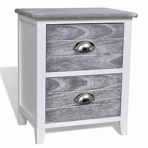 Meuble Pour Téléphone : la boutique en ligne 2 tables de chevet meubles pour t l phone 2 tiroirs gris blanc ~ Teatrodelosmanantiales.com Idées de Décoration
