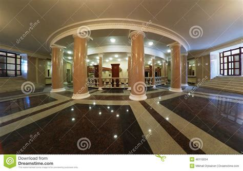 Theater Foyer With Columns And Marble Floors Stock Photo