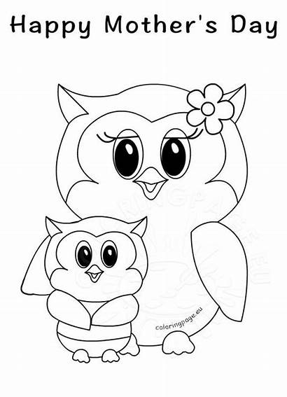 Happy Owls Coloring Mothers Mother Pages Mom