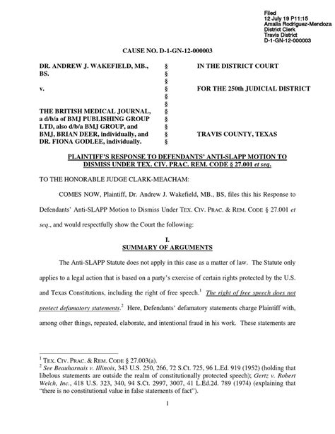 Plantiff's Response to Defendants' Anti-Slapp Motion to