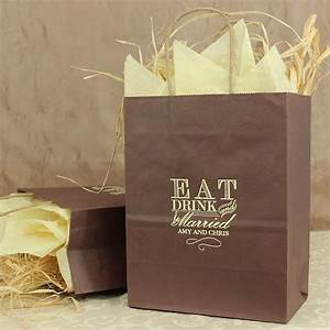 8 x 10 eat drink and be married personalized gift bags With wedding gift bag ideas