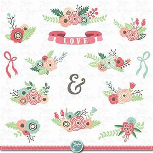 flowers clipart pack quotfloral bouquetquot clip art pack With wedding invitation flower clipart free