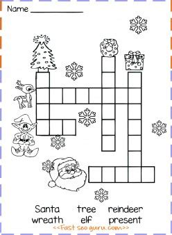 christmas word crossword puzzle  kids printable