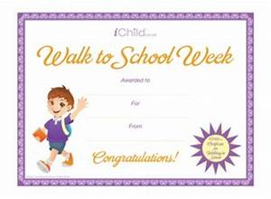 walk to school certificate boy ichild With walking certificate templates