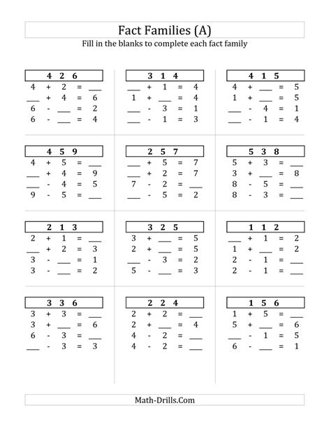 addition and subtraction related facts worksheets math