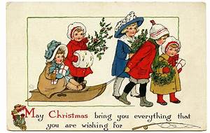 Vintage Christmas Graphic Image - Cute Children with Sled ...