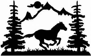 Mountain Silhouette Wall Art | Running Horse wall art ...