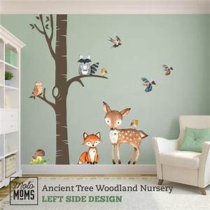 Woodland, Nursery, Wall, Decor, Ancient, Tree, Fox, U0026, Friends, Wall, Decal