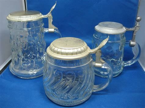 Lot 3 Antique Made In Germany Pewter Lid Glass Beer Mugs