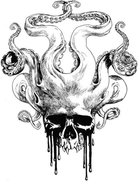 Skull and tentacles   Tattoos   Octopus tattoos, Skull art, Skull