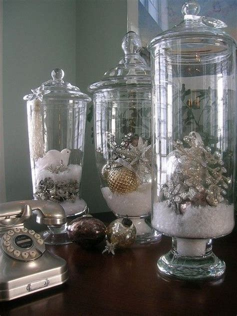"""Christmas Decor Hurricane Vase With Lid, """"snow"""" And"""