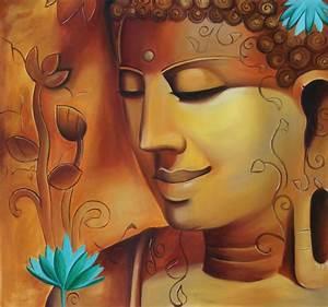 Buddha Portrait Wall Decor Art Handmade Indian Oil on
