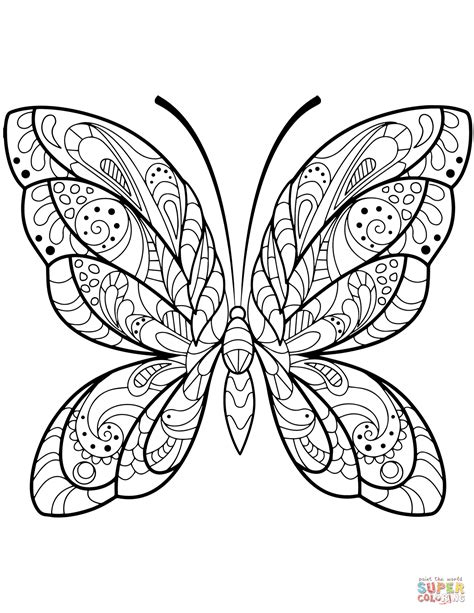 detailed butterfly zentangle coloring page