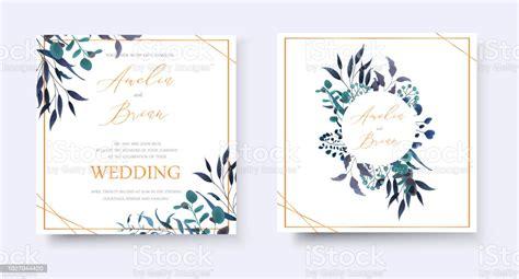 Wedding Floral Golden Invitation Card Save The Date Rsvp
