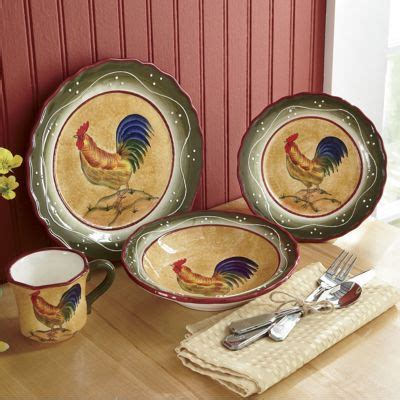 piece provence rooster dinnerware  country door