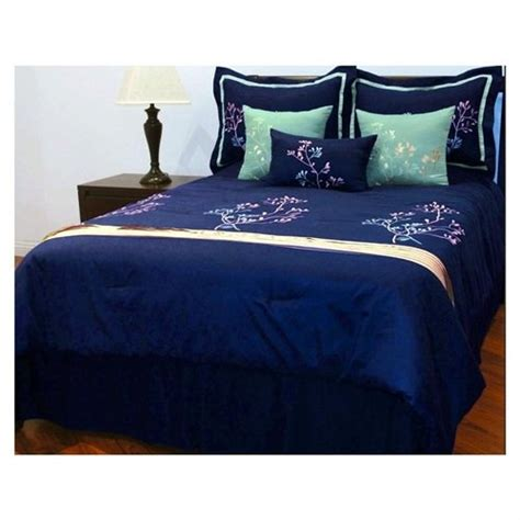 7 pcs imperial embroidery deep blue sea comforter set bed