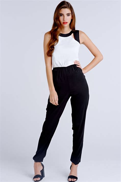 white and black jumpsuit on black and white jumpsuit