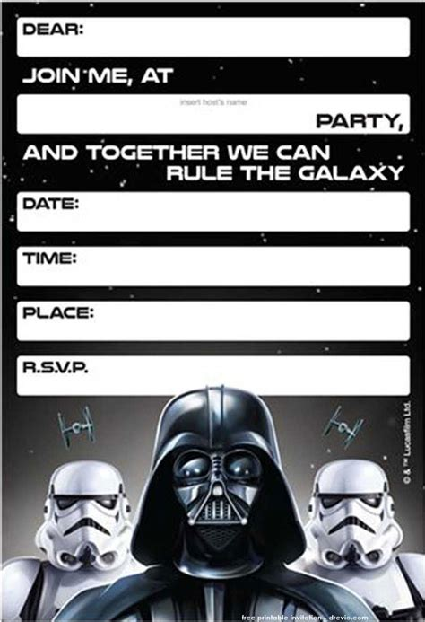 printable star wars birthday invitations template