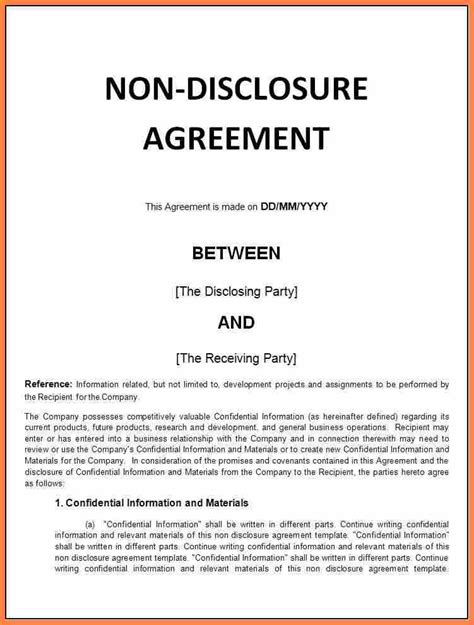sample  disclosure agreement template purchase